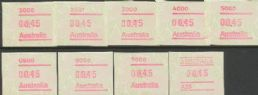 Australian Framas: Waratah 45c Base Rate set of 9 with A25